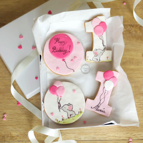 girls-1st-birthday-elephant-and-balloon-handpainted-pink-decorated-cookie-gift-set